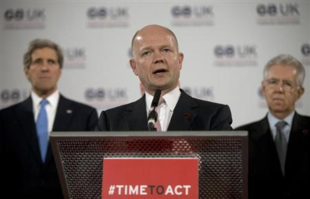 Britain's Foreign Secretary William Hague speaks at a news conference on sexual violence against women during the G8 Foreign Ministers Meeting in central London April 11, 2013. REUTERSAlastair Grant/Pool