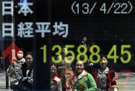 Women are reflected on an electronic board displaying Japan's Nikkei average outside a brokerage in Tokyo April 22, 2013. REUTERS/Toru Hanai