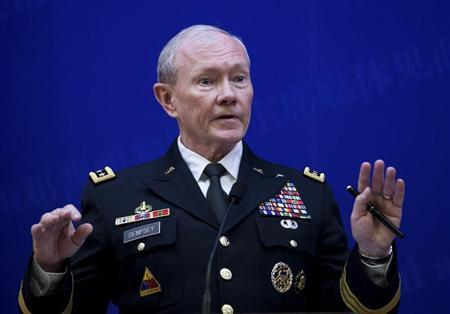 U.S. Joint Chiefs Chairman General Martin Dempsey speaks during a press briefing with Chief of the general staff of China's People's Liberation Army Fang Fenghui (not pictured) at the Bayi Building in Beijing April 22, 2013. REUTERS/Andy Wong/Pool