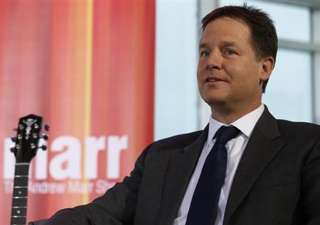 Deputy Prime Minister Nick Clegg waits to be interviewed on the ''Andrew Marr Show'' during the Liberal Democrats annual conference in Brighton, southern England September 23, 2012. REUTERS/Luke MacGregor