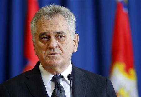 Serbian President Tomislav Nikolic speaks during a media conference in Belgrade April 1, 2013. REUTERS/Marko Djurica