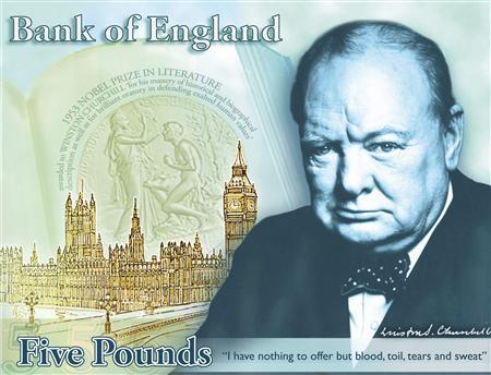 Britain's wartime leader Winston Churchill is seen on a design for a new banknote, which includes his famous declaration ''I have nothing to offer but blood, toil, tears and sweat'', in a picture released by the Bank of England in London April 25, 2013. REUTERS/Bank of England/handout