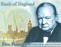 "Britain's wartime leader Winston Churchill is seen on a design for a new banknote, which includes his famous declaration ""I have nothing to offer but blood, toil, tears and sweat"", in a picture released by the Bank of England in London April 25, 2013. REUTERS/Bank of England/handout"