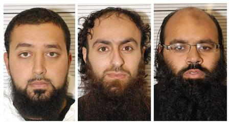 Ashik Ali, Irfan Khalid and Irfan Naseer (L-R) are seen in undated mugshots provided by the West Midlands Police in Birmingham February 21, 2013. REUTERS/West Midlands Police/handout