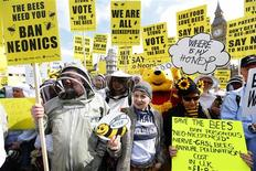 Designer Vivienne Westwood (C), and a person in a Winnie The Pooh costume join campaigners protesting in Parliament Square to urge Britain's government to ban the use of pesticides containing neonicotinoids, in central London, April 26, 2013. REUTERS/Andrew Winning
