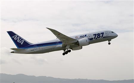 An All Nippon Airways Boeing 787 Dreamliner takes off at San Jose International Airport for Tokyo in San Jose, California January 11, 2013. REUTERS/Robert Galbraith