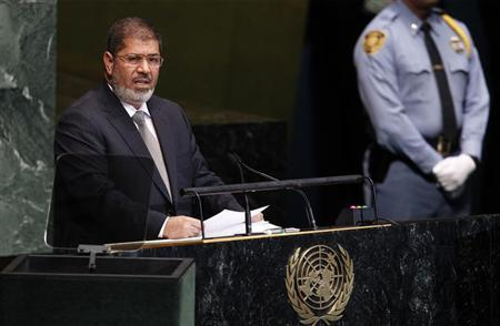 Egypt's President Mohamed Mursi addresses the 67th United Nations General Assembly at the U.N. Headquarters in New York, September 26, 2012. REUTERS/Lucas Jackson