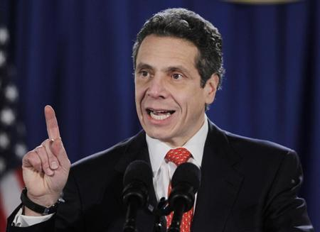 New York Governor Andrew Cuomo speaks during a swearing-in ceremony in the War Room of the Capitol in Albany, New York January 1, 2011. REUTERS/Mike Groll