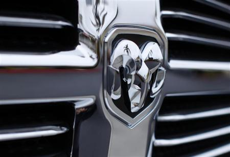 The logo on the front of a Dodge RAM truck is seen at a Chrysler dealership in Carlsbad, California April 29, 2013. REUTERS/Mike Blake