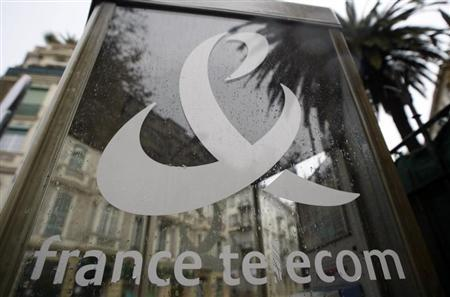 France Telecom logo is seen on a phone box in Nice, southern France, October 29, 2008. REUTERS/Eric Gaillard