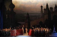 """Actors perform during a fragment of the """"Boris Godunov"""" opera by Modest Mussorgsky, as part of a gala concert at Mariinsky Theatre in St. Petersburg May 1, 2013. Picture taken May 1, 2013. REUTERS/Alexander Demianchuk"""