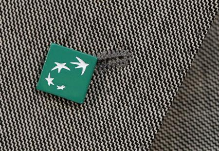 A BNP Paribas bank logo is seen pinned on a jacket during the presentation of the bank's 2012 annual results in Paris February 14, 2013. REUTERS/Christian Hartmann
