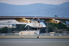 The Solar Impulse aircraft takes off from Moffett Field to begin the first leg of its 2013 Across America Mission in Mountain View, California May 3, 2013. REUTERS/Stephen Lam