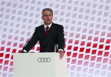 Audi Chief Executive Officer Rupert Stadler delivers a speech during the opening ceremony of the carmaker's new plant in the town of San Jose Chiapa, in the state of Puebla, Central Mexico May 4, 2013. Audi expects to produce 150,000 cars a year at the plant, according to a statement from Audi. REUTERS/Imelda Medina