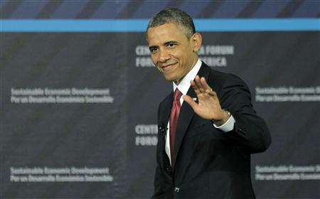 U.S. President Barack Obama waves as he arrives to take part in a forum on Inclusive Economic Growth and Development hosted by INCAE, a Costa Rican business school, and the Inter-American Development Bank, in San Jose May 4, 2013. REUTERS/Juan Carlos Ulate