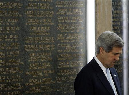 U.S. Secretary of State John Kerry reflects during dedication ceremonies at the State Department for new names inscribed on the American Foreign Service Association Memorial Plaque in Washington May 3, 2013. REUTERS/Gary Cameron