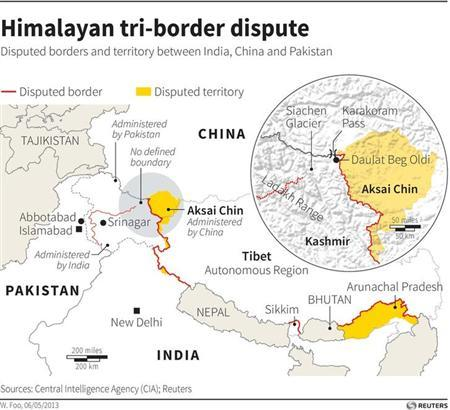 Map of the Himalayas locating disputed borders and territory. Reuters/Graphics