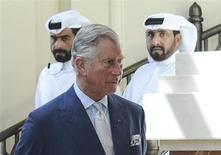 Britain's Prince Charles arrives to meets with Qataris who studied in Britain during a reception at a hotel in Doha March 14, 2013. REUTERS/Stringer