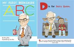 """Chairman and CEO of Berkshire Hathaway Warren Buffett is seen in an illustration on the cover of the book """"My First Berkshire ABC"""" (L) and in the inside pages of the book in this handout photo provided to Reuters on May 8, 2013. Nancy Rips/Tom Kerr/The Donning Company Publishers/Handout via Reuters"""