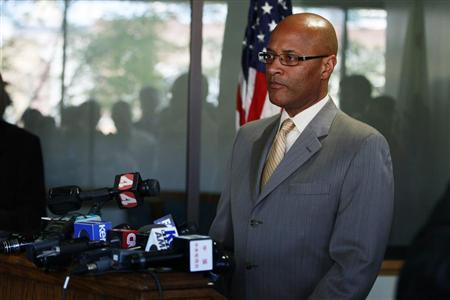 Oakland Police Chief Howard Jordan speaks after an arraignment hearing for Oikos University shooting suspect One Goh, at the Wiley M. Manuel Alameda County Courthouse in Oakland, California April 4, 2012. REUTERS/Stephen Lam