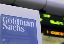 A Goldman Sachs sign is seen on at the company's post on the floor of the New York Stock Exchange, January 18, 2012. REUTERS/Brendan McDermid