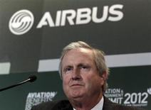 Jim Albaugh looks on during the 6th Aviation & Environment Summit in Geneva March 22, 2012. REUTERS/Deni's Balibouse