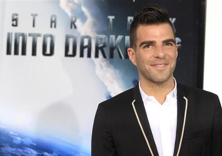 Actor Zachary Quinto, cast member of the new film ''Star Trek Into Darkness'', poses as he arrives at the film's premiere in Hollywood May 14, 2013. REUTERS/Fred Prouser