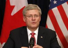 Canadian Prime Minister Stephen Harper speaks during a business round table at the Waldorf Astoria hotel in New York, May 16, 2013. REUTERS/Brendan McDermid