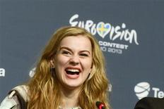 """Denmark's Emmelie De Forest smiles at a news conference after winning the 2013 Eurovision Song Contest with her song """"Only Teardrops"""" during the finals of the contest held at the Malmo Opera Hall in Malmo May 18, 2013. REUTERS/Janerik Henriksson/Scanpix Sweden"""