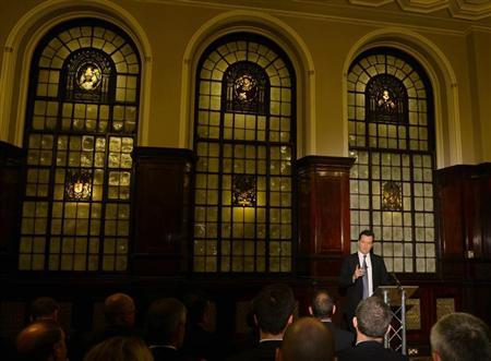 Britain's Chancellor of the Exchequer, George Osborne, launches the Scotland Analysis paper on Currency and Monetary Policy, in the Glasgow Trades Hall, Glasgow, Scotland April 23, 2013. REUTERS/Russell Cheyne