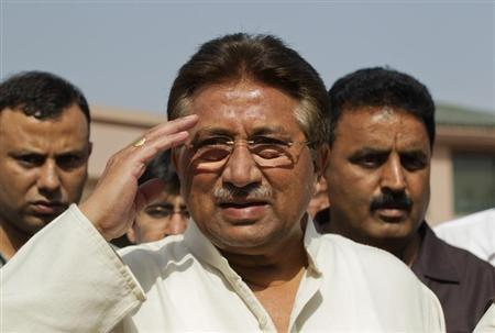 Pakistan's former President and head of the All Pakistan Muslim League (APML) political party Pervez Musharraf salutes as he arrives to unveil his party manifesto for the forthcoming general election at his residence in Islamabad April 15, 2013. REUTERS/Mian Khursheed