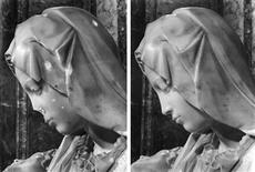 A combo photo shows a detail view of the damaged Michelangelo's Pieta and it after restoration works at the Vatican. Forty-one years ago, a crazed Hungarian named Laszlo Toth jumped an altar railing in St. Peter's Basilica and dealt 12 hammer blows to Michelangelo's Pieta, severely damaging the Renaissance masterpiece.To mark the attack on May 21, 1972, the Vatican Museums held a day-long seminar on May 21, 2013 on the statue, the incident, and what subsequently became one of the most delicate and controversial art restorations in history. Musei Vaticani/Handout via Reuters