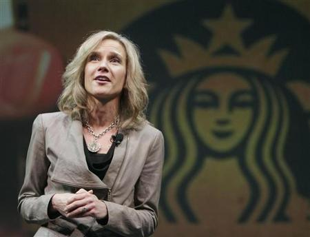 Michelle Gass, president of Starbucks Europe, Middle East and Africa (EMEA), speaks to shareholders during Starbucks' Annual Meeting of Shareholders in Seattle, Washington in this file March 21, 2012 photo. REUTERS/Robert Sorbo