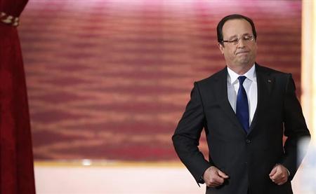 5月22日、欧州首脳は、企業の租税回避をめぐる問題について話し合い、英仏独から、グーグル、アップル、アマゾンといった大企業が積極的な租税回避をできなくするよう、規制を強化すべきとの声が挙がった。写真はオランド仏大統領。パリで16日撮影(2013年 ロイター/Benoit Tessier)