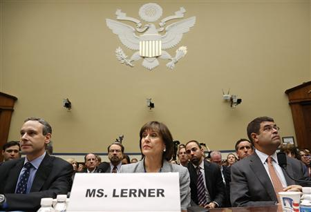 Former U.S. Internal Revenue Service Commissioner Douglas Shulman (L-R), IRS Director of Exempt Organizations Lois Lerner and U.S. Deputy Treasury Secretary Neal Wolin take their seats to testify before a House Oversight and Government Reform Committee hearing on targeting of political groups seeking tax-exempt status from by the IRS, on Capitol Hill in Washington, May 22, 2013. REUTERS/Jonathan Ernst
