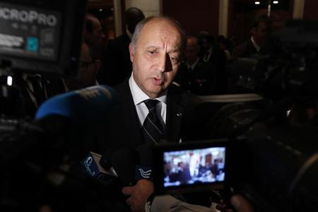 French Foreign Minister Laurent Fabius speaks to the media after the Friends of Syria alliance meeting in Amman May 22, 2013. REUTERS/Muhammad Hamed