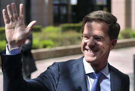 Netherlands' Prime Minister Mark Rutte waves as he arrives at a European Union leaders summit in Brussels May 22, 2013. REUTERS/Eric Vidal