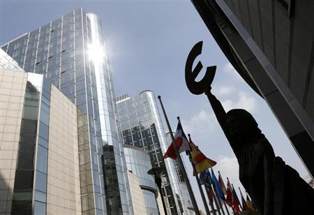 A statue depicting European unity is seen outside the European Parliament in Brussels May 3, 2013. REUTERS/Francois Lenoir