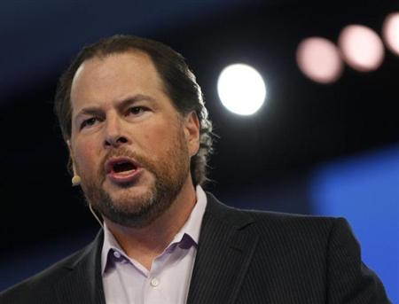 Salesforce CEO Marc Benioff speaks during the Dreamforce event in San Francisco, California September 19, 2012. REUTERS/Robert Galbraith