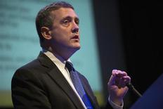 """The Federal Reserve Bank of St. Louis' President and CEO James Bullard speaks during the """"Hyman P. Minsky Conference on the State of the U.S. and World Economies,"""" in New York, April 17, 2013. REUTERS/Keith Bedford"""