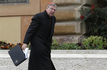 Australian Cardinal George Pell arrives for a meeting at the Synod Hall in the Vatican March 6, 2013. REUTERS/Tony Gentile