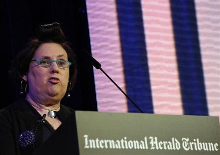 The Fashion Editor of the International Herald Tribune Suzy Menkes opens the IHT ''Techno Luxury'' conference in Berlin November 17, 2009. REUTERS/Thomas Peter