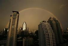 A rainbow arches over Bangkok's skyline after a rain storm on May 27, 2007 in this file photo. REUTERS/Adrees Latif