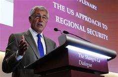 U.S. Defense Secretary Chuck Hagel speaks during the first plenary session of the 12th International Institute for Strategic Studies (IISS) Asia Security Summit: The Shangri-La Dialogue, in Singapore June 1, 2013. REUTERS/Edgar Su