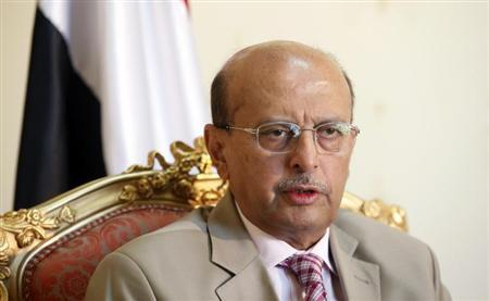 Yemen's Foreign Minister Abubakr al-Qirbi speaks during an interview with Reuters in Sanaa May 31, 2010. REUTERS/Khaled Abdullah