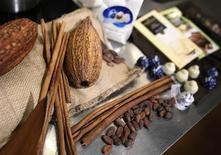 Chocolate beans and pods are displayed in New York November 17, 2012. REUTERS/Carlo Allegri