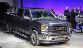 General Motors displays its 2014 GMC Sierra full-size pickup truck after unveiling it and the 2014 Chevrolet Silverado full-size pickup truck in Pontiac, Michigan December 13, 2012. REUTERS/Rebecca Cook
