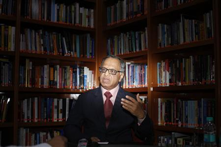 N.R. Narayana Murthy, Chairman Emeritus of Infosys, speaks during an interview with Reuters in Bangalore in this February 28, 2012 file picture. REUTERS/Vivek Prakash/Files
