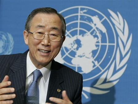 U.N. Secretary-General Ban Ki-moon gestures during a news conference during the U.N. Global Compact Leaders Summit at the United Nations european headquarters in Geneva July 5, 2007. REUTERS/Denis Balibouse