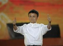 Alibaba founder Jack Ma gestures during a celebration of the 10th anniversary of Taobao Marketplace, China's largest consumer-focused e-commerce website, in Hangzhou, May 10, 2013. REUTERS/China Daily
